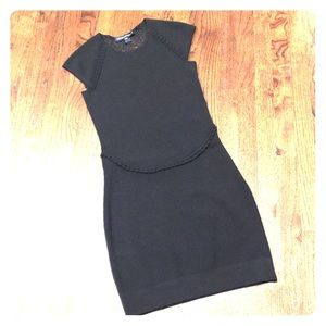 French Connection black jersey dress sheer back M